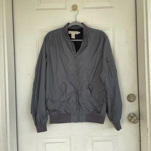 H&M Mens Gray Bomber Jacket size S